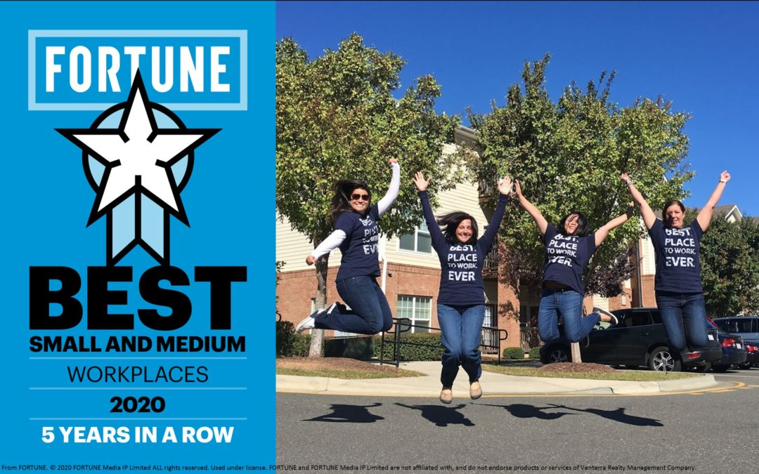Venterra Named One of the Best Medium Workplaces by Great Place to Work® & FORTUNE for a 5th Time in a Row!
